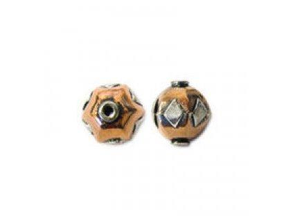 Měděné korálky - korálek kulatý s postříbřeným zdobením - cca 11x11,5mm
