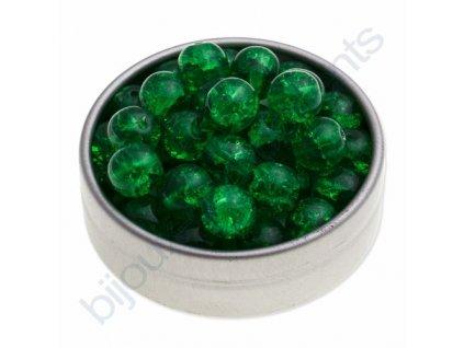 Skleněné práskané korálky - zelené, cca 8mm