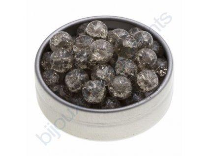 Skleněné práskané korálky - black diamond, cca 8mm