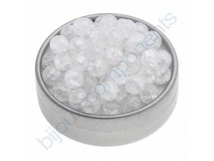 Skleněné práskané korálky - krystal, cca 8mm
