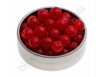 Skleněné práskané korálky - sv.červené, cca 8mm