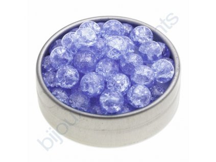 Skleněné práskané korálky - sv.sapphire, cca 8mm