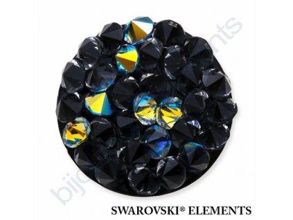 SWAROVSKI ELEMENTS - Crystal rocks, černý, crystal AB, 15mm