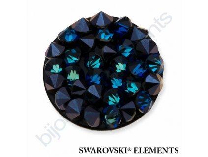 SWAROVSKI ELEMENTS - Crystal rocks, černý, crystal bermuda blue, 15mm