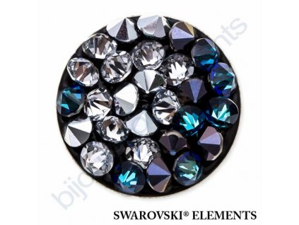 SWAROVSKI ELEMENTS - Crystal rocks, černý, crystal bermuda blue a crystal CAL, 15mm