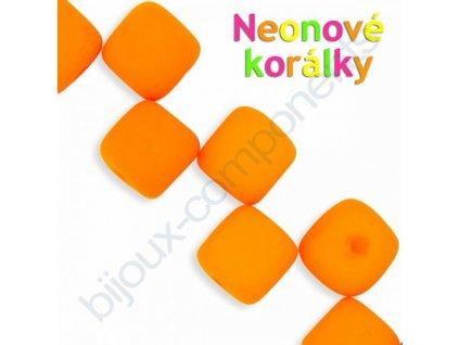 Neonové korálky s UV efektem, kostičky, oranžové