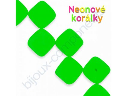 Neonové korálky s UV efektem, kostičky, zelené