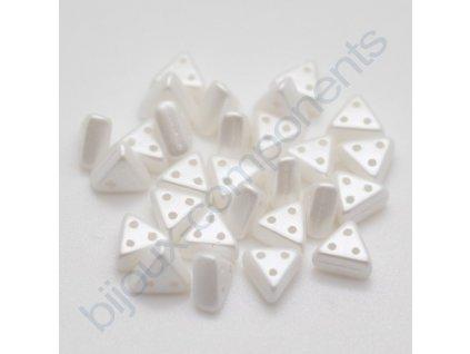Skleněné korálky eMMA, perleťově bílé, 3x6mm, 5g
