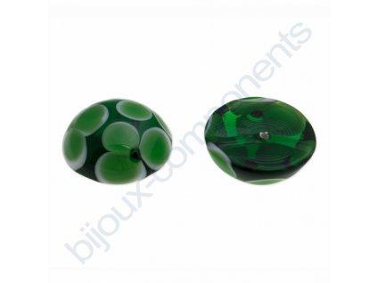 Kabošon kulatý vinutý, cca 16mm, zelená
