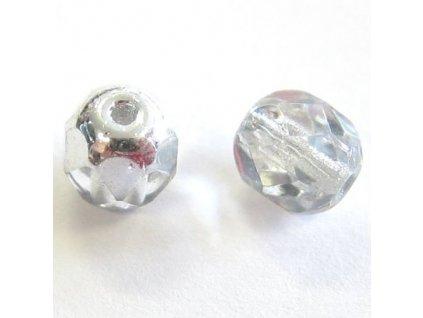 Skleněné ohňové korálky - krystal/stříbrný půlpokov, cca 3mm