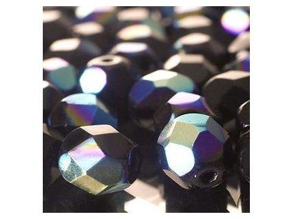 Skleněné ohňové korálky - černé/AB pokov, cca 3mm