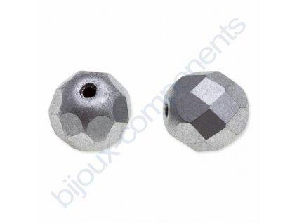 skleněné ohňové korálky, cca 4mm, stříbrné/barvené