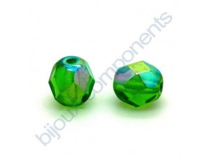 skleněné ohňové korálky, cca 4mm/ světle zelená AB