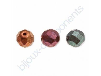 Skleněné ohňové korálky- mix metalických barev/barvené, cca 6 mm
