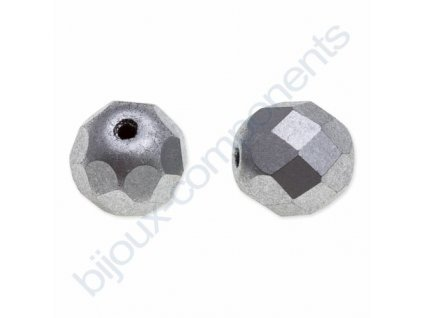 skleněné ohňové korálky, cca 6mm, stříbrné/barvené