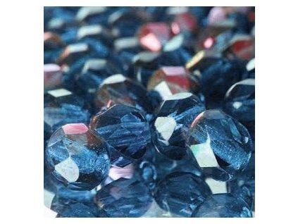 Skleněné ohňové korálky - sv,modré/AB pokov, cca 6mm