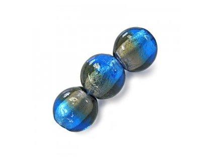 Skleněné korálky šedé (black diamond)/modré