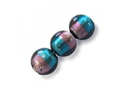 Skleněné korálky modrozelené (blue zircon)/ametystové