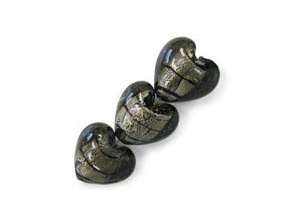 Skleněné korálky šedé (black diamond) s černými proužky