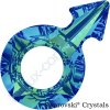 SWAROVSKI CRYSTALS přívěsek - symbol muže, crystal bermuda blue F, 18x11,5mm