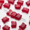 Skleněné mačkané korálky - červené odstíny, žíhané cca 9,8x7mm