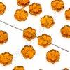 Skleněné mačkané korálky - topaz - kytička, cca 7,6x4mm