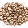 Skleněné mačkané korálky - zlaté/barvené, mix tvarů velikostí