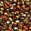 Skleněné ohňové korálky - zelenoměděný pokov lesklý, 3 mm