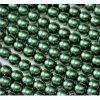 Skleněné voskované perle, cca 6mm, tmavě zelené