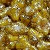 Skleněné korálky mačkané - kytičky, zvonečky,žluté s travertinem