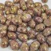 Dvoudírkové oválné kabošony PRECIOSA Candy Oval™, 10x12 mm - růžovo hnědá