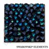 SWAROVSKI ELEMENTS - Crystal rocks, černý, crystal bermuda blue, 20x20mm