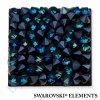 SWAROVSKI ELEMENTS - Crystal rocks, černý, crystal bermuda blue, 20x20mm