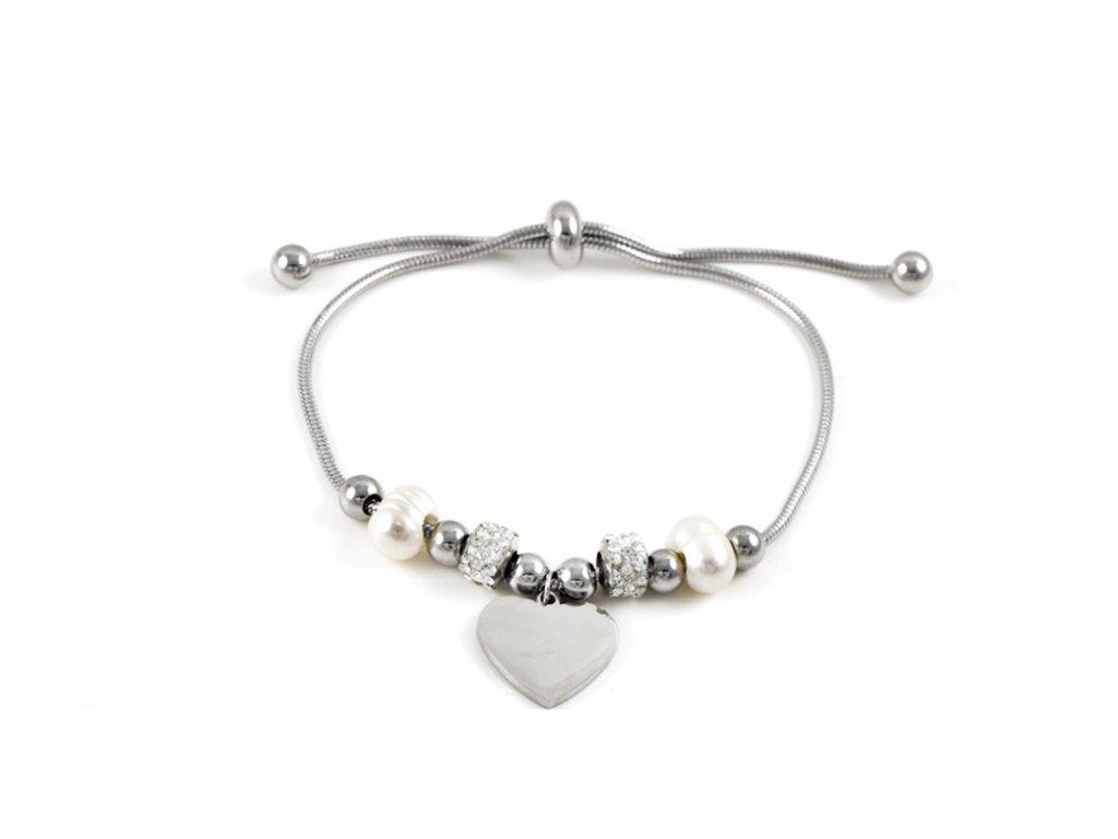 16883 naramek na ruku z chirurgicke oceli perla srdce
