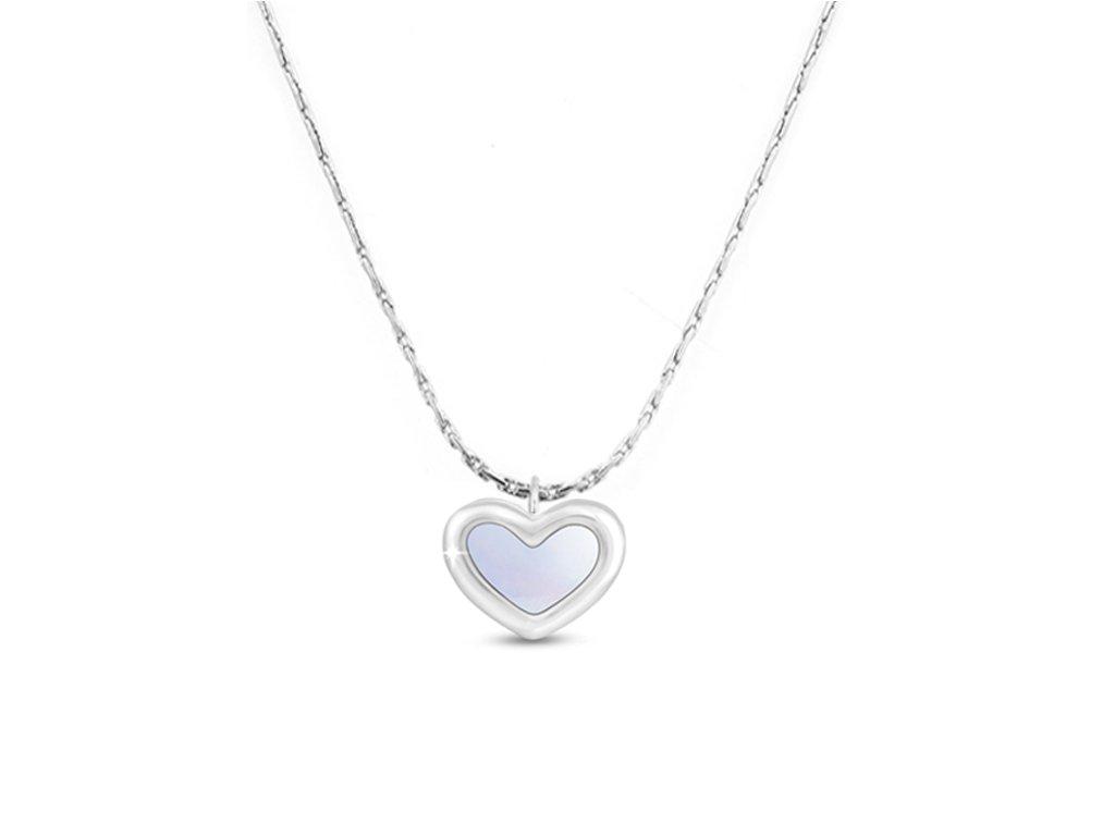 Řetízek z chirurgické oceli+přívěsek, srdce, stříbrnýsrdce perlet stribrna