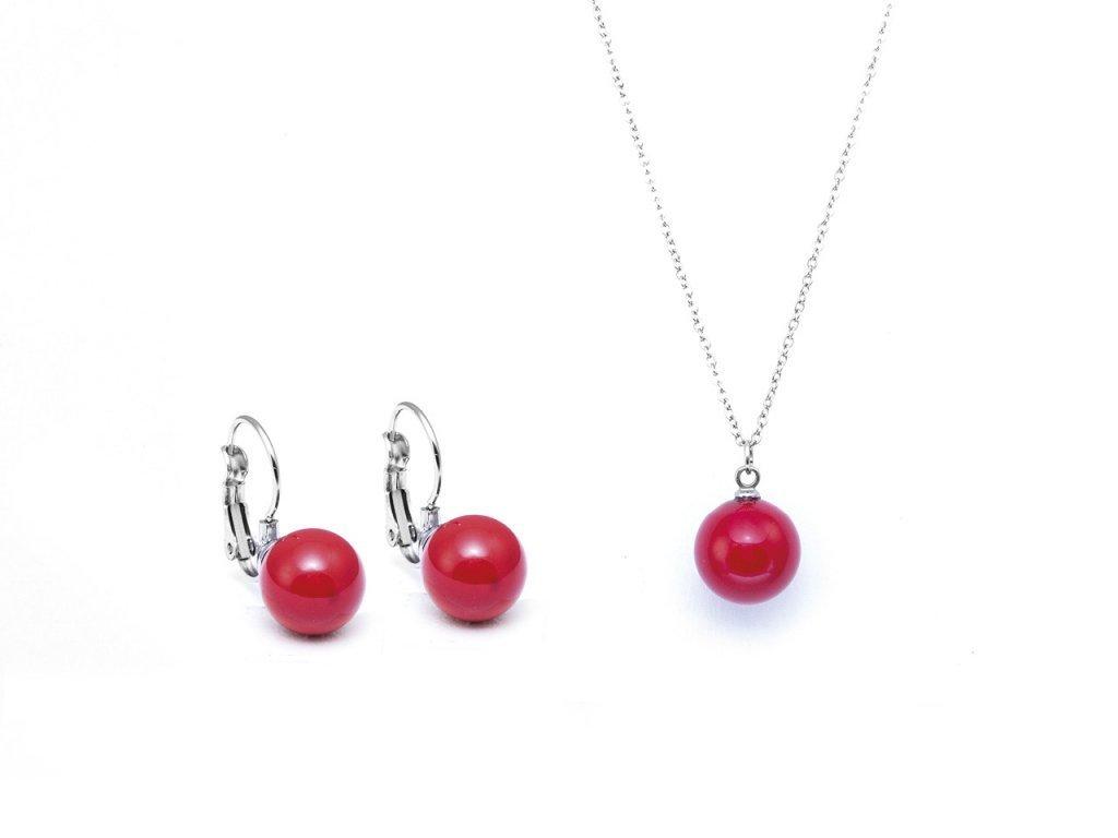 21081 set z chirurgicke oceli nausnice retizek perla cervena 3001308