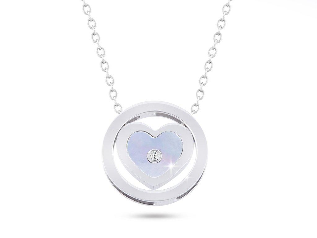 Řetízek z chirurgické oceli s přívěskem, srdce v kruhu s perletí a zirkonem 3001325