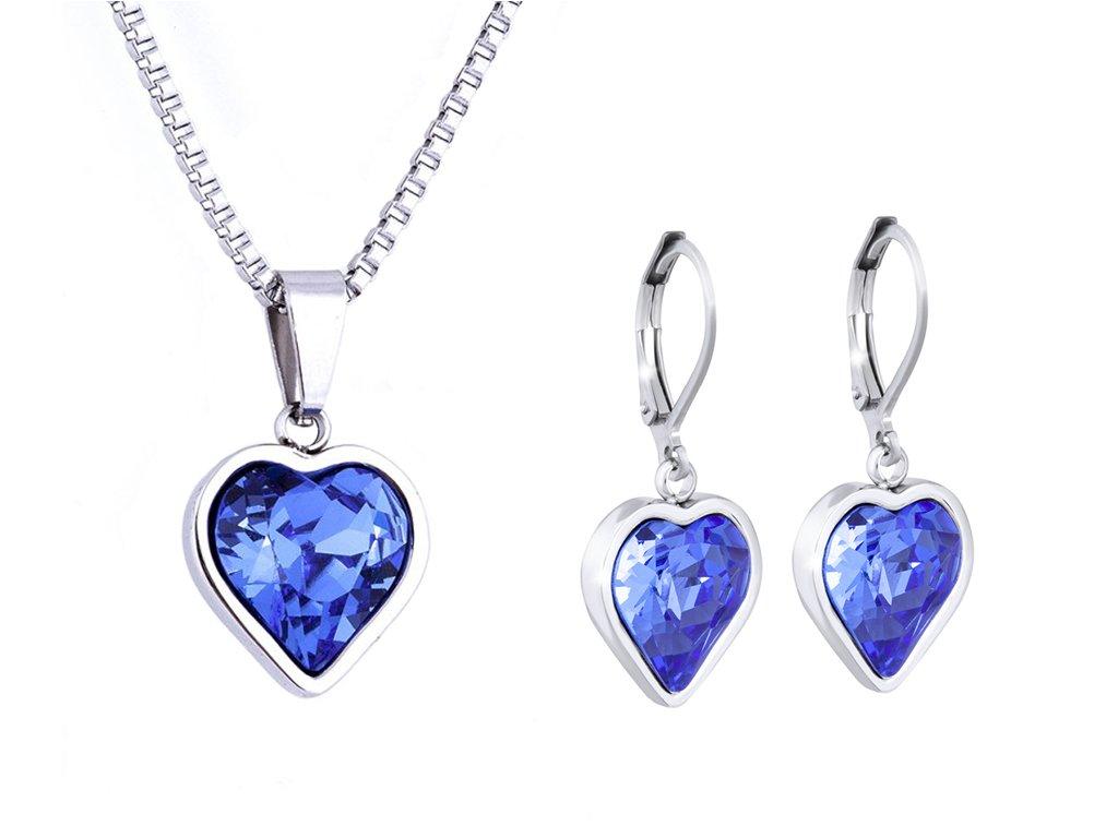 Set z chirurgické oceli srdce-modré, řetízek + náušnice se zirkony 107set srdce