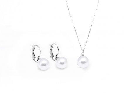 18413 3 set z chirurgicke oceli nausnice retizek perla bila 3001017