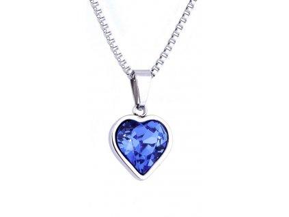 Řetízek z chirurgické oceli+přívěsek, srdce-modré