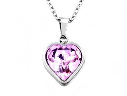 Řetízek z chirurgické oceli+přívěsek, srdce-růžové