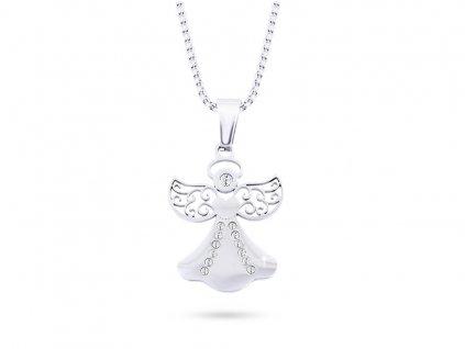 Řetízek z chirurgické oceli+přívěsek, anděl se zdobenými křídly a zirkony 3001331
