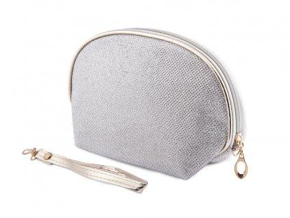Kosmetická taška kulatá, stříbrné barvy s lesklým prošitím 9001340