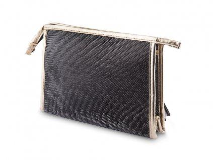 Kosmetická taška hranatá, černé barvy s lesklým prošitím 9001343