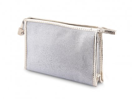 Kosmetická taška hranatá, stříbrné barvy s lesklým prošitím 9001342