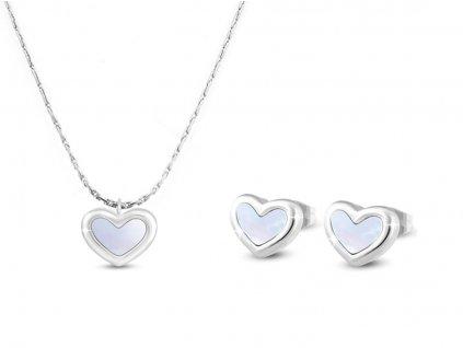 Set z chirurgické oceli srdce s perletí, řetízek + náušnice 124124opr