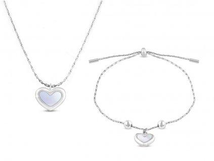 Set z chirurgické oceli srdce s perletí, řetízek + náramek 126126 opr