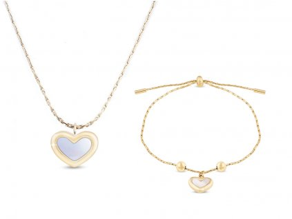 Set z chirurgické oceli, pozlacený 18k, srdce s perletí, řetízek + náramek 127127opr