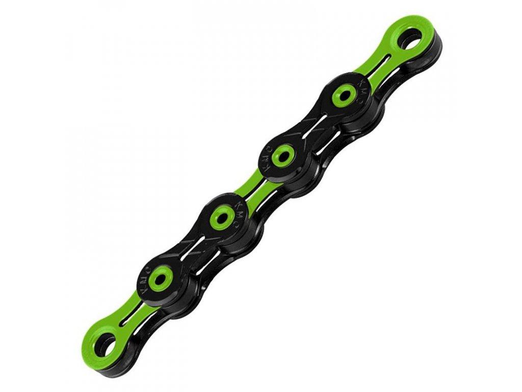 řetěz KMC DLC 10 Super Light zeleno/černý v krabičce 116 čl.