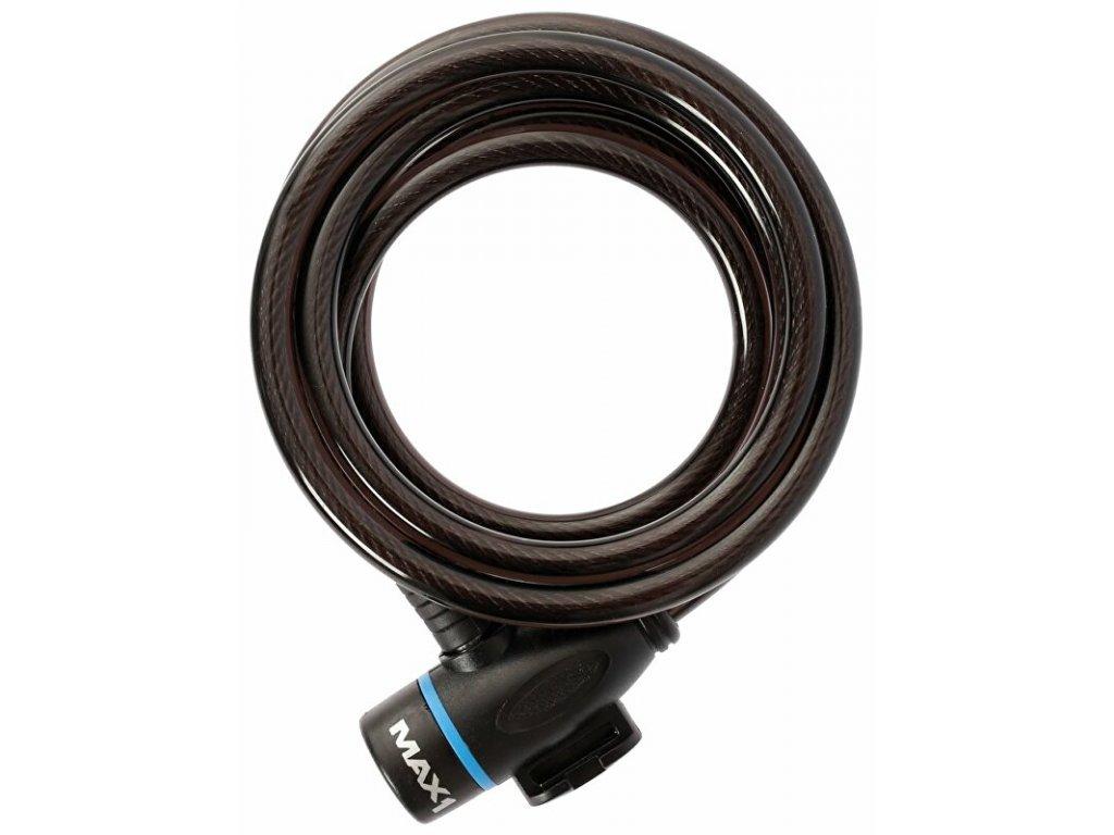 zámek spirála MAX1 1500x8 mm 4 klíče, černý